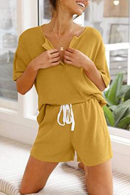 Yellow V-neck Short Sleeve Top Shorts Set