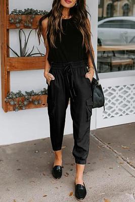 Black Casual Drawstring Pants with Pockets