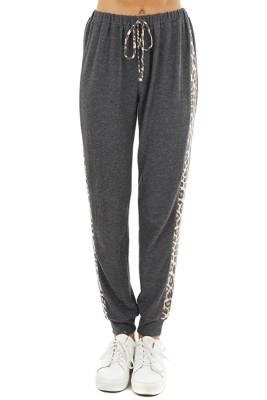 Gray Leopard Drawstring Pocketed Pants