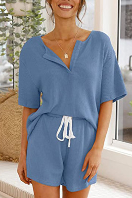 Blue V-neck Short Sleeve Top Shorts Set