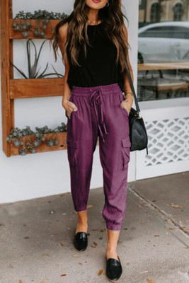 Purple Casual Drawstring Pants with Pockets