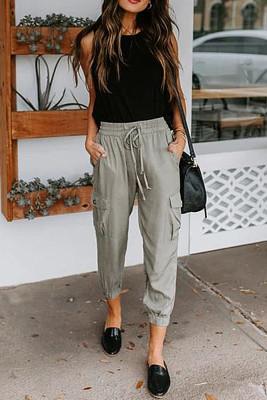 Gray Casual Drawstring Pants with Pockets