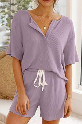Purple V-neck Short Sleeve Top Shorts Set