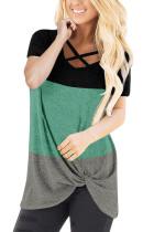 Green Contrast Criss-cross Twist Short Sleeve Top