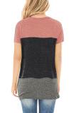 Pink Contrast Criss-cross Twist Short Sleeve Top