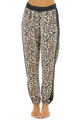 Leopard Drawstring Pocketed Pants