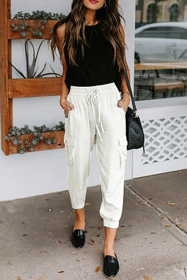 White Casual Drawstring Pants with Pockets