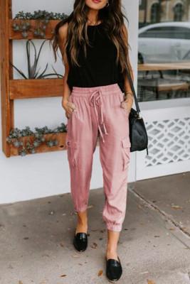 Pink Casual Drawstring Pants with Pockets