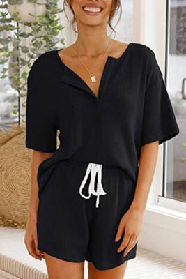 Black V-neck Short Sleeve Top Shorts Set