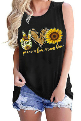 Love Heart Sunflower Printed Tank Top