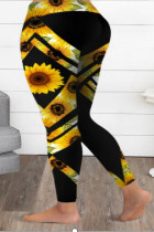 Sunflower Print Yoga Pants