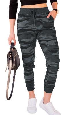 Gray Camouflage Drawstring Joggers