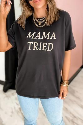 Black MAMA TRIEDPrinted Graphic Tee