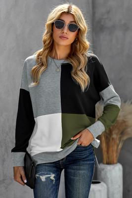 Green Color Block Round Neck Long Sleeves Pullover Sweatshirt