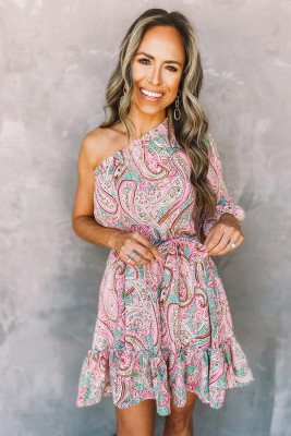 Paisley Print One Shoulder Dress