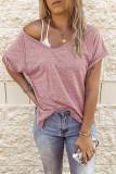Pink V-neck Short Sleeve Top