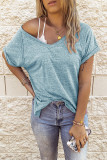 Blue V-neck Short Sleeve Top