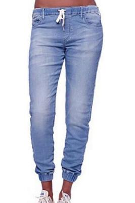 Light Blue Drawstring  Pocket Denim Jeans