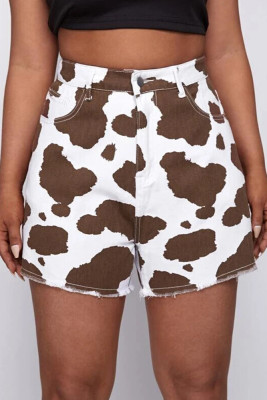 Cow Print High Waist Denim Shorts