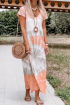 Tie-dye Print Loose V-neck Short Sleeve Dress