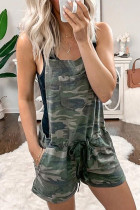 Camouflage Printing Wide Casual Suspender Shorts Jumpsuit