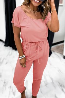 Pink Short Sleeve Jumpsuit
