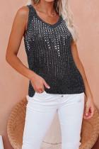 Ice Silk Sling V-neck Beach Top Black Diamond knitted vest
