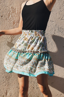 Printed Bohemian National Lotus Leaf Skirt