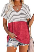 Red Stripe Splicing Pocketed Short Sleeve Top