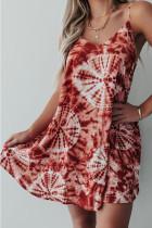Red Print Loose Slip Dress