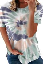 Tie-dye Print O-neck Loose Short Sleeve Top