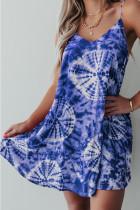Blue Print Loose Slip Dress