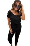 Black Short Sleeve Jumpsuit