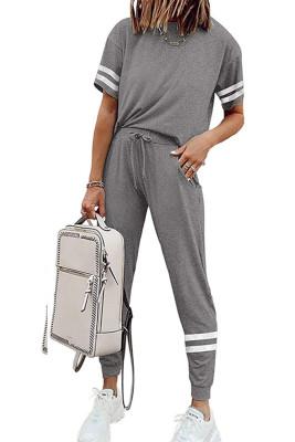 Gray O-neck Short Sleeve Top  Pants Loungewear