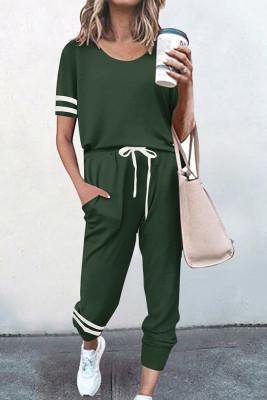 Green O-neck Short Sleeve Top  Pants Loungewear