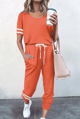 Orange O-neck Short Sleeve Top  Pants Loungewear