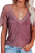 Lace Sleeve V Neck Top