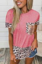 Wine Red Leopard Pocket Splicing O-neck Short Sleeve Top