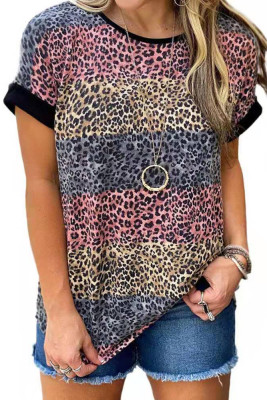 Leopard Print  O-neck Short Sleeve Top