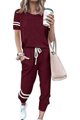 Wine Red O-neck Short Sleeve Top  Pants Loungewear