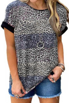 Leopard Print  O-neck Short Sleeve Top