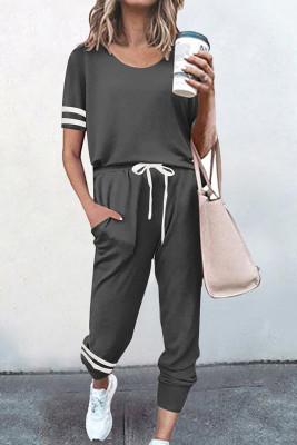 Dark Gray O-neck Short Sleeve Top  Pants Loungewear