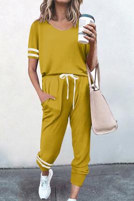 Yellow O-neck Short Sleeve Top  Pants Loungewear