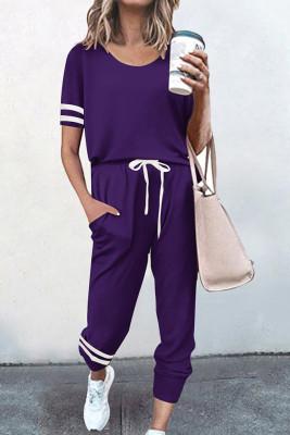 Purple O-neck Short Sleeve Top  Pants Loungewear