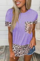 Purple Leopard Pocket Splicing O-neck Short Sleeve Top