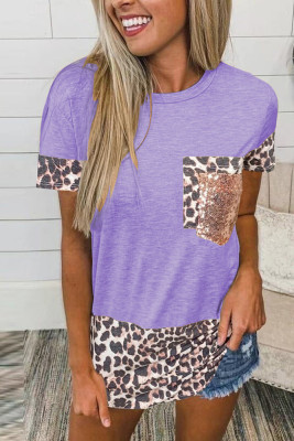 Purple Leopard Pocket Splicing O-neck Short Sleeve Top