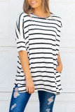 Stripe Pocket O-neck Half Sleeve Top
