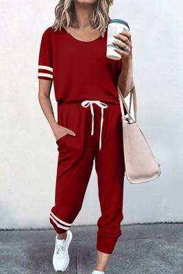 Red O-neck Short Sleeve Top  Pants Loungewear