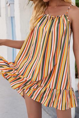 Yellow Stripe Print  Slip Dress