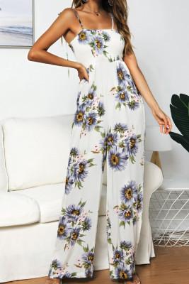 Sunflower Print  Strap Jumpsuit